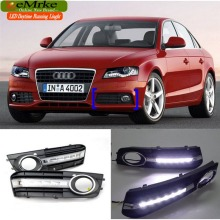 eeMrke Car DRL For Audi A4 B8 2009-2011 High Power Xenon White Tagfahrlicht Fog Cover Daytime Running Lights Kits