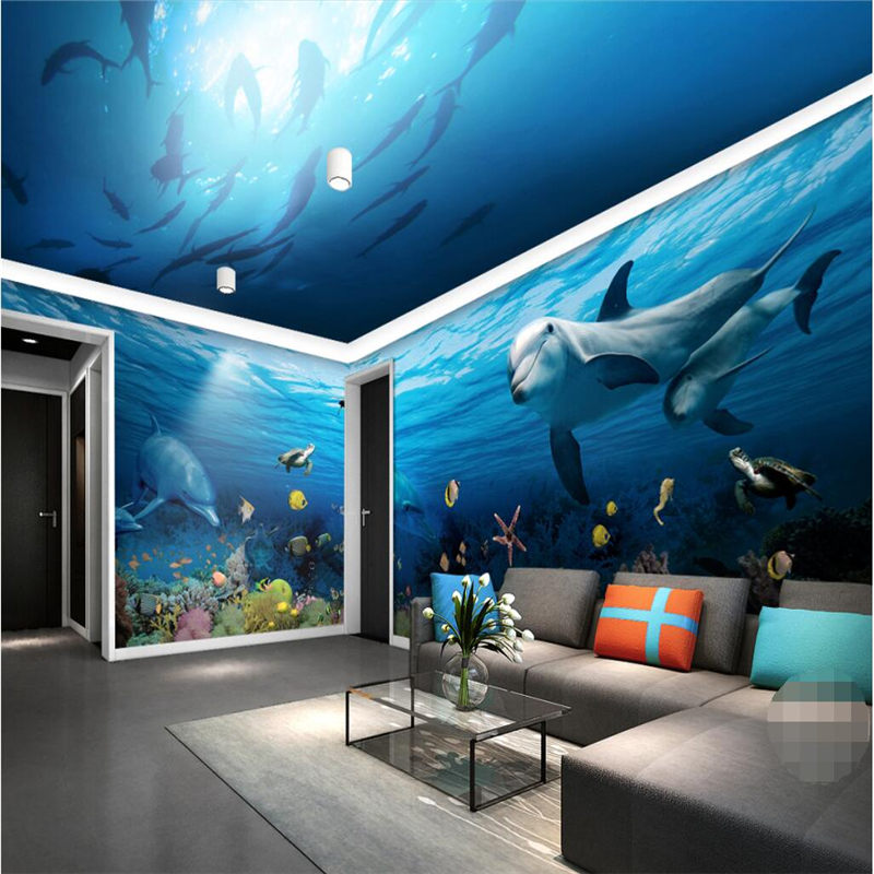 papel de parede 3D living room home decoration 3d wallpaper room panoramic underwater world wallpapers  wallpaper for walls 3 d<br><br>Aliexpress