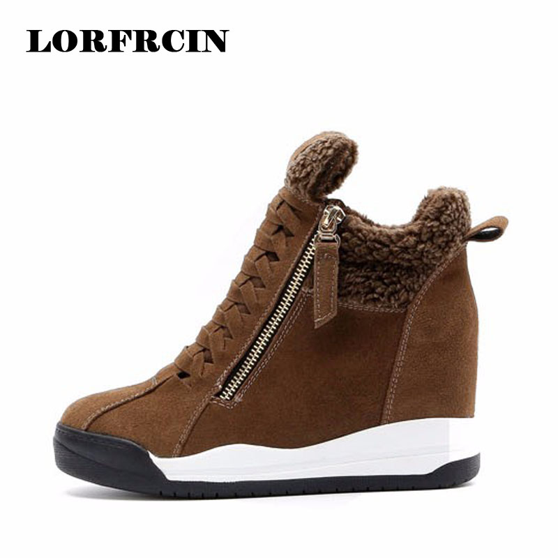 2017 New Genuine Leather Womens Casual Shoes Height Increasing Ankle Boots Wedge Boots Heels Hidden Shoes Woman LORFRCIN<br>