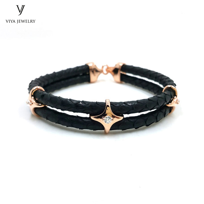 luxury-sterling-silver-star-beads-leather-bracelet-stingray-leather-bracelet-(18)