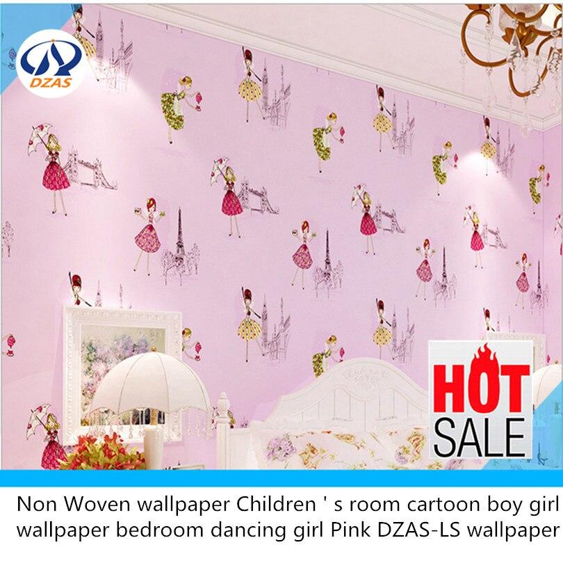 Non Woven wallpaper Children  s room cartoon boy girl wallpaper bedroom dancing girl Pink DZAS-LS wallpaper<br>