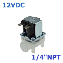 "DC 12V NC(Normal Close) 1/4""NPT Female Thread Contection PP Body for RO Water Air Oil Electric Plastic Solenoid Valve"