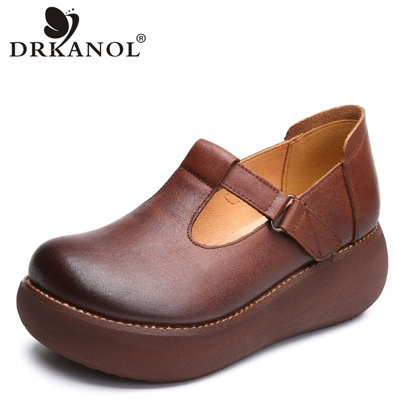 DRKANOL 2019 Spring Women Flat Platform Shoes Handmade Genuine Leather Round Toe Shallow Casual Shoes Women Platform Heel Shoes(China)