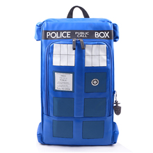 Large Doctor Dr Who Tardis Police Box Backpack Bag Call Box PU Leather with tag 30pcs/lot Free DHL(China)
