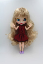 Blygirl Blyth doll Gold bangsheng wave curly hair 30cm joint body has 19 joints frosted face shell doll(China)