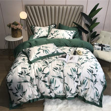 Green leaves Bedding Sets Bedclothes Duvet/Quilt Cover tencel Bed Linen Sheet girls Set Queen King Size(China)