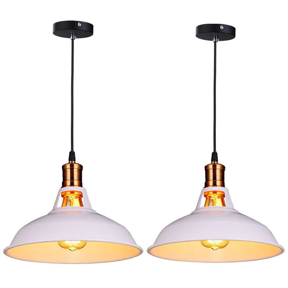 Retro Industrial Edison Simplicity Chandelier Vintage Ceiling Lamp with Metal Shiny Nordic style Shade (Set of 2 White)<br>
