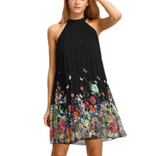 Summer Woman Dress Black Round Neck Sleeveless vestidos Womens Casual Clothing Floral Print Cut Away Shift Dresses(China)