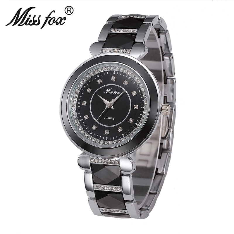 Miss Fox Luxury Ceramic Water Resistant Women Wrist Watch Top Quality Women Ceramic Rhinestone Watches Relojes Mujer 2017<br>
