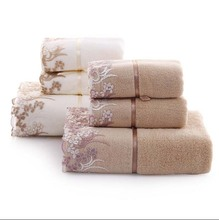 (3Pcs/Set) 100% Cotton Luxury Towels Bathroom Towel Gift set For Adults 1 * Bath Towel and 2 * Face Towel(China)