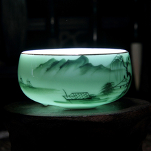 70ML Longquan Creative Handpainted Lotus Chinese Traditional Ceramic Celadon Procelain Kung Fu Tea Cups TiKuanYin Puer Tea Bowl(China)