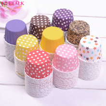 100pcs Polka Dot/ Solid Design Round Food Grade Cake Decorating Baking Tools Cupcake Paper Muffin Cases Cake Box Cup Cake Mold