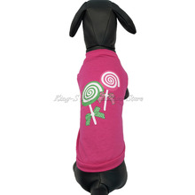 King-S Pet Dog Lollipop Pattern Printed 100%cotton Vests T-shirt Comfortable Breathable Rose Coat Size XS-L Fashion Style