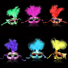 Multi Color Feather PVC Princess Mask Sexy Hallowmas Venetian Bauta Mask Half Face Party Dance Mask Masquerade Cosplay Decor(China)