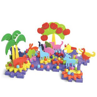 Candice guo! Brand new colorful children plastic toy primeval forest gears combination DIY blocks game toy 126pcs<br>