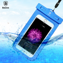 Baseus Universal waterproof phone case for iphone samsung 5.5 inch transparent touchable pouch diving photographed phone Bag(China)