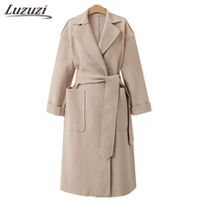 Winter Women Wool Coat Girls Loose Suit Collar Blends Jacket Medium Length Outwear Casual England Style Solid Overcoat WS2009(China)
