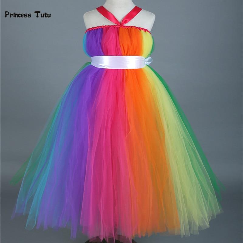 Colorful Rainbow Tutu Dress Long Princess Costume Kids Girls Party Birthday Photo Tulle Dress Children Wedding Flower Girl Dress<br>
