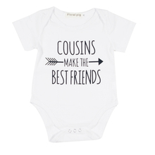 Funny Newborn Infant Clothes Cousin Best Friend Letter Print White Short Sleeves Tiny Cottons Baby Bodysuits Baby Onesie 0-18M(China)