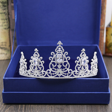 Micro Inlays Full Clear Cubic Zirconia Oval-Cut Zircon CZ Queen Prom Corwn Coronet Brides Tiaras Wedding Hair Jewelry Ornaments