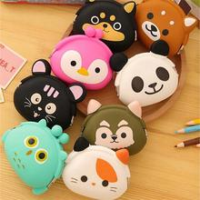 Wholesale Cute Animals Women Silicone Coin Purse Japanese Candy Color Jelly Silicone Coin bag Mini key Wallet 100pcs/lot