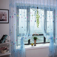 1PCS 2Colors Romatic Balloon Tulle Voile Door Window Curtains Drape Panel Sheer Scarfs Valances Window Scarfs For Living Room