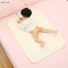Baby Changing Pads & Covers Organic Colored Cotton Waterproof Layer Baby Changing Mat Changing Urine Pad Bed Sheets for Newborn(China)