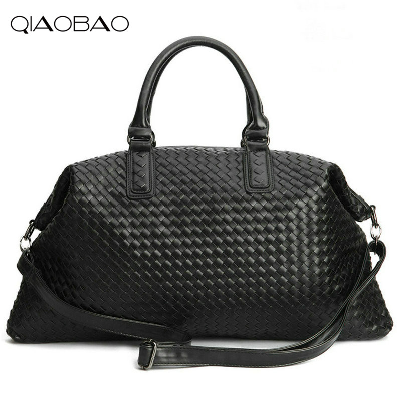 QIAOBAO Famous Brand Sheepskin knitting Quality Leather Womens Handbag Vintage Large Capacity Handmade Weaving Totes<br>