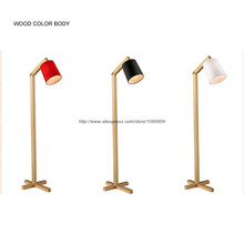 "Modern Wood Floor Lamp Light White/Black/Red Bedside Stand Lighting H 62.9"" Lampara de pie de madera(China)"