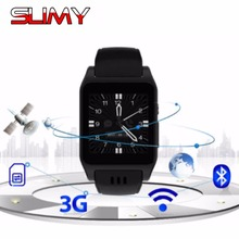 Slimy New Arrival X86 Bluetooth Smart Watch Phone Android 4.4 4GB Support 3G Wifi Camera SIM Card Skype Whatsapp Facebook(China)