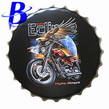 40cm American Eagle and Motorcycle Chic Round Vintage Metal Signs Bar Coffee Shop Wall Decor Beer Bottle Cap Metal Craft
