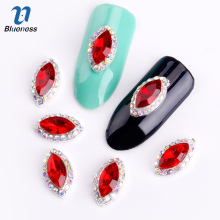 Blueness 10Pcs 3D Nail Art Supplies Rhinestone Alloy Decoration Jewelry Red Gem Design Crystals Acrylic Sticker For Nails TN269