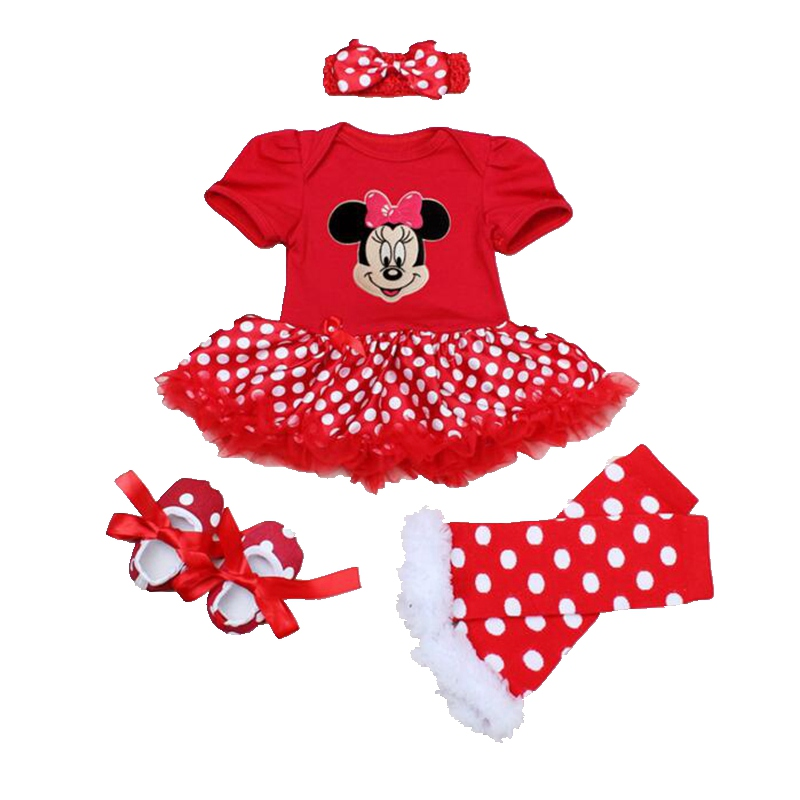 Red Minnie Children Suits 4PCS Newborn Tutu Sets Baby Girl Clothes Ropa Bebe Infantil Lace Petti Romper Dress Infant Clothing<br><br>Aliexpress