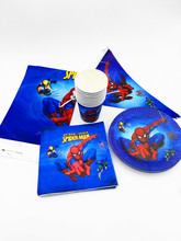 32pcs/lot spider plates cups banners napkins spider-man tablecloth party banner glass plates spiderman dishes glasses(China)