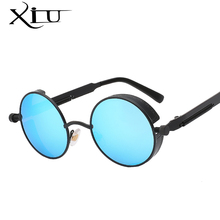 Gothic Steampunk Mens Sunglasses Coating Mirrored Sunglasses Round Circle Sun glasses Retro Vintage Gafas Masculino Sol(China)