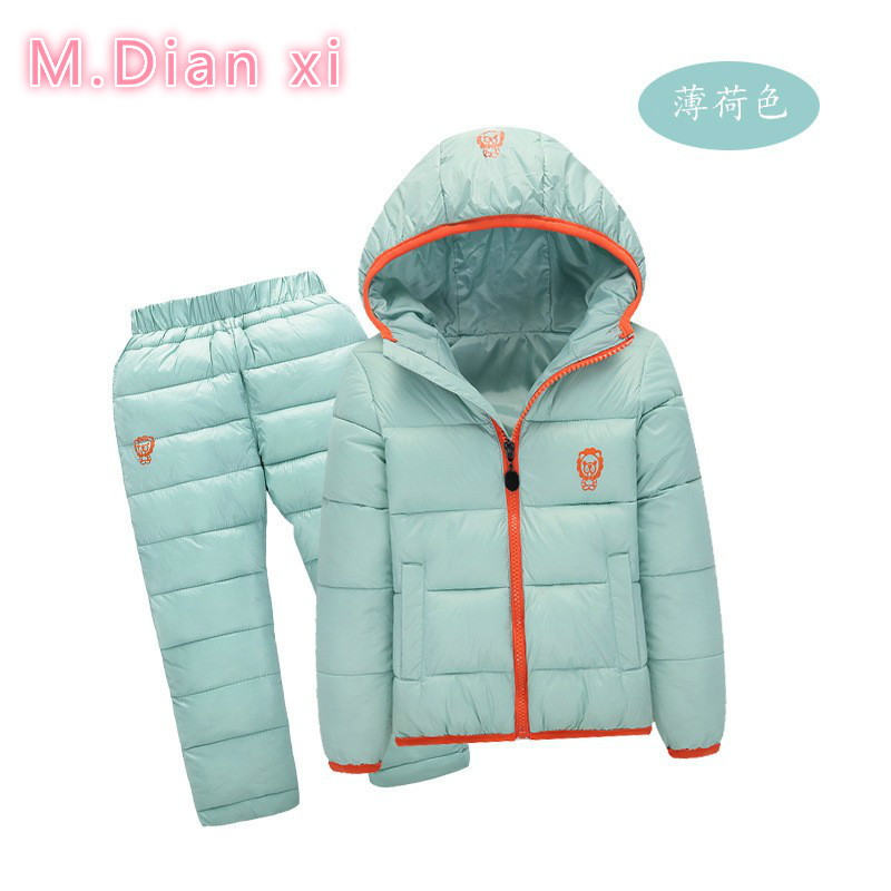 Children Set Boys girls Clothing sets winter 1-7year hoody Down Jacket + Trousers Waterproof Snow Warm kids Clothes suit 6 color(China (Mainland))