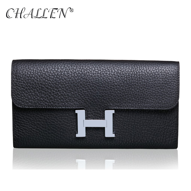 CHALLEN Fashion Long Section Woman Wallet and purses Genuine Leather H buckle Litchi pattern Clutch bag Card<br><br>Aliexpress