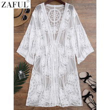ZAFUL 2017 Embroidered Sheer Swimsuit Cover Up See-through Lace Cover Up Women De Plage Beach Cardigan Bathing Suit Cover Up(China)