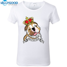 2017 New Fashion France Bulldog Design Funny T-Shirts Cute KING OF MY HEART Print T-shirt Slim White Pug Print Shirts Tops  S845
