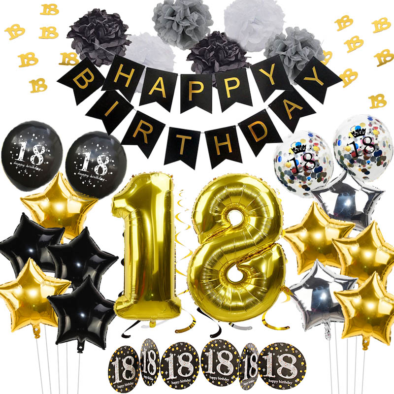 Black Gold Birthday Decoration Balloons Happy Birthday Banner Tinsel Garland Confetti for Adult 18 Birthday Party Decoration