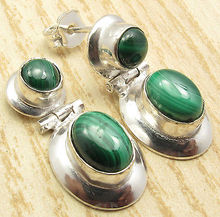 Silver Plated Green MALACHITE Gem Elegant HINGE Stud Earrings 1""