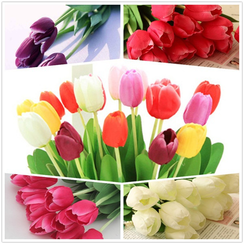 5pcs Artificial Flowers Tulips Bouquet Party Wedding Decoration Valentines Day Flowers for Decoration Mariage Home Accessories.w(China)