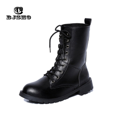CBJSHO Cheap Leather Boots Lace up Square Heels Autumn Non Slip Female Ankle Boots Sexy Martin Boots Footwear Shoes Woman(China)