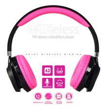 Wireless Bluetooth 4.2 Headphones Led Light Earphone Support TF Card FM Headset Black and Pink with MIC for Iphone Xiaomi Girls