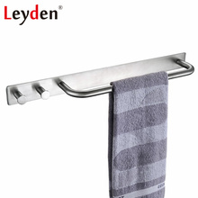Leyden 3M Self Adhesive Stainless Steel Polished Chrome Brushed Nickel Wall Rack Hanging Towel Rod Towel Ring Shelf With Hooks(China)
