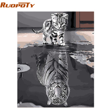 RUOPOTY Frameless Lovely Cat DIY Painting By Numbers Animals Handpainted Oil Painting Unique Gift For Home Decor 40*50cm Artwork(China)