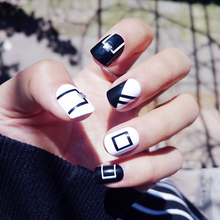 Buy Fashion 24pcs/set black+white geometry silver rivet decoration finished fake nails short size full nail tips Patch lady art tool for $2.07 in AliExpress store