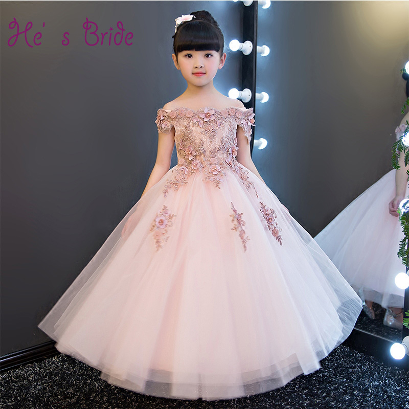 Elegant Boat Neck Flower Girl Dresses Lace Appliques Girl Wedding Birthday Party Gowns Pink Kids Pageant First Communion Dress