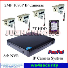 8CH NVR 2MP 1080P HD Night Vision IP Surveillance Camera Kit CCTV Security Camera System PC App Remote View