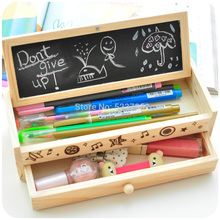 Free shipping Korea stationery lovely pencil box multifunctional wooden diy drawer stationery box/multifunctional pencil case(China)